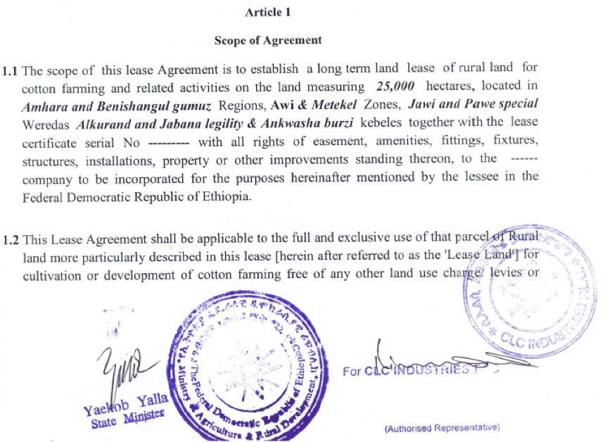 Farmlandgrab Ethiopia Land Rent Contractual Agreement Made