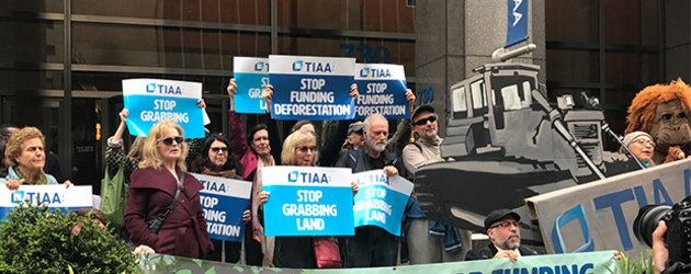 Protesters rally outside TIAA in New York to stop its farmland deals