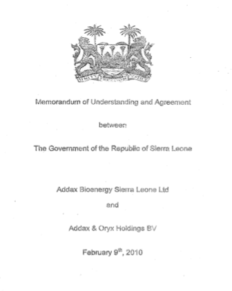 Farmlandgrab mou and agreement between sierra leone and addax memorandum of understanding and agreement between the government of sierra leone with addax bioenergy sierra leone limited and addax oryx holdings bv spiritdancerdesigns Gallery