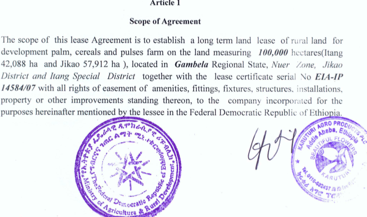 Farmlandgrab Land Rent Contractual Agreement Made Between