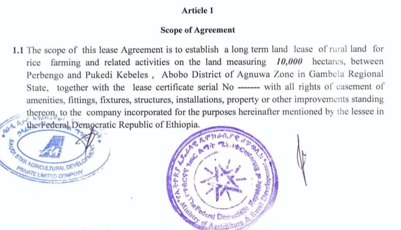 farmlandgrab org | Ethiopia: Land rent contractual agreement