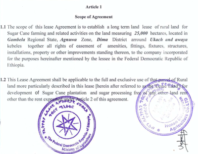 Farmlandgrab Ethiopia Land Rent Contractual Agreement Made