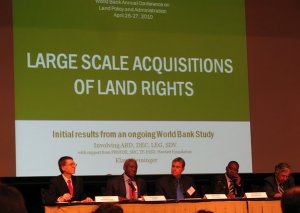 "Presentation of initial results fo the World bank study during the  panel, ""Is there a global land rush?"" at the World Bank Land  Conference, April 26, 2010."