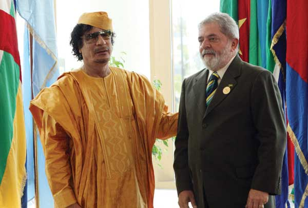 Former Brazilian President Lula visiting former Libyan dictator Muammar Gaddafi.
